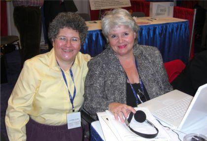 """Cynthia with Andrea Shea King, aka """"Radio Patriot,"""" at Bloggers Row at CPAC"""