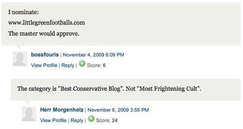 Weblog category is not most frightening cult