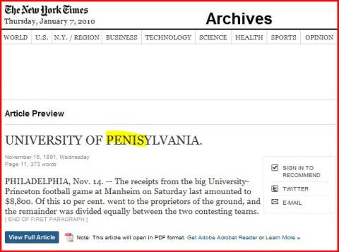 NY Times 1-7-10 Univ of Penisylvania typo480x357