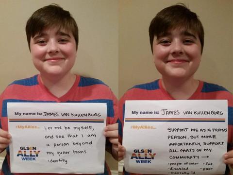 Transgender-identified female student, James van Kuilenburg. (Photo: GLSEN.org)